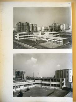 Due vedute della scuola nel complesso del quartiere in costruzione. Stampa fotografica b/n. (Archivio Arrigo Arrighetti)