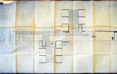 Pianta piano rialzato. Scala 1:100, febbraio 1956. Copia eliografica piegata. (Archivio Arrigo Arrighetti)